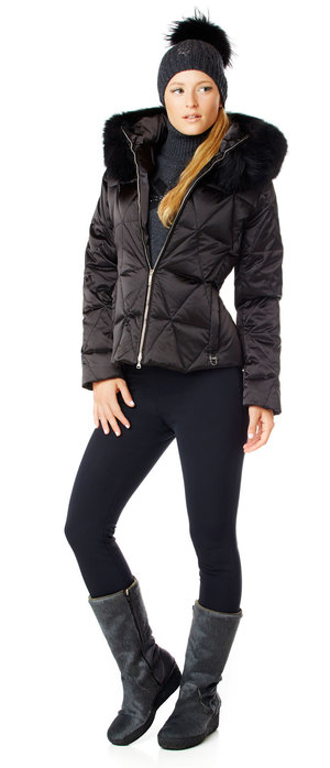 ladies luxury down ski jacket with fur.