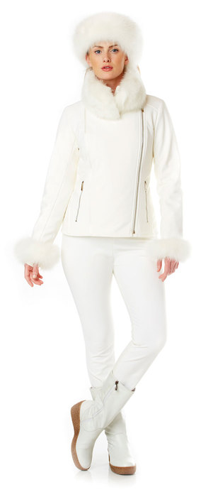 ladies ski stretch jacket with fox fur trim