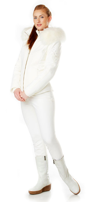 Ladies White Soft Shell Strech ski jacket with fox fur hood trim