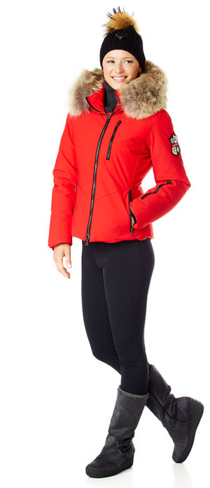 Ladies red down ski jacket