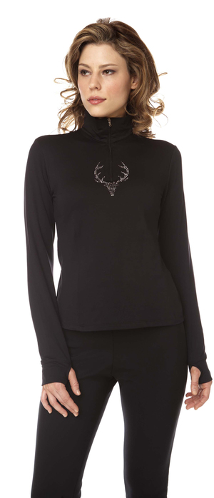 Women's technical  base layer with Swarovski deer.  Made in the USA