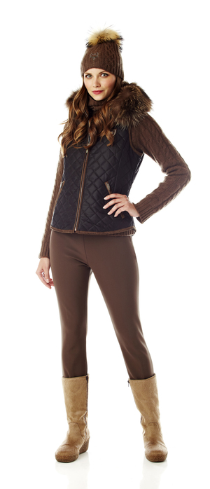 Molly women's quilted thinsulate vest with fur trim. Made in the USA.