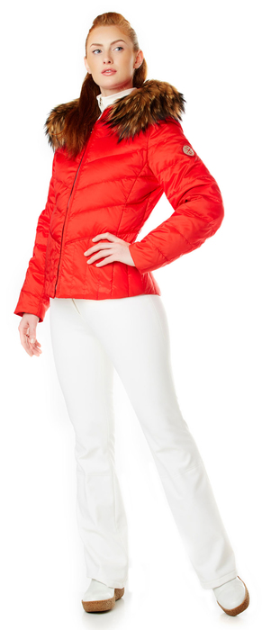 Ladies Red Down Ski Parka