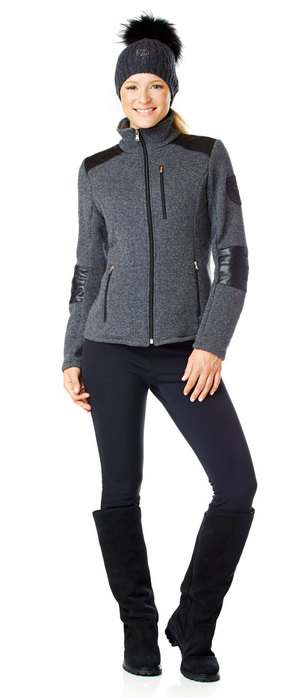 women's techno-wool fleece jacket with trim