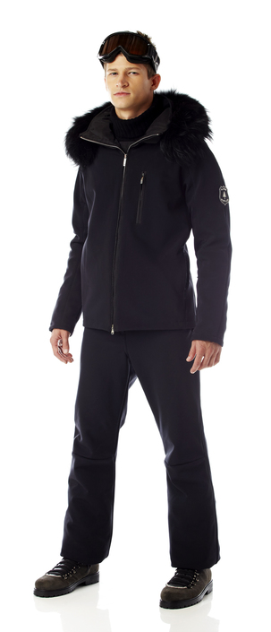 Men's insulated soft shell ski jacket with fur tirm.  Made in the USA.