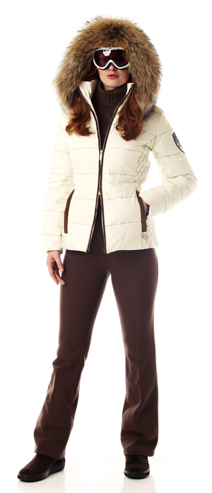 Women's down ski jacket with fur trim.  Made in the USA.
