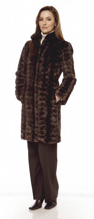 Ladies sheared mink fur coat.  Made in the USA