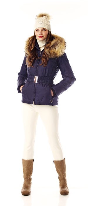 Ladies quilted down ski jacket with fur trim.  made in the USA.