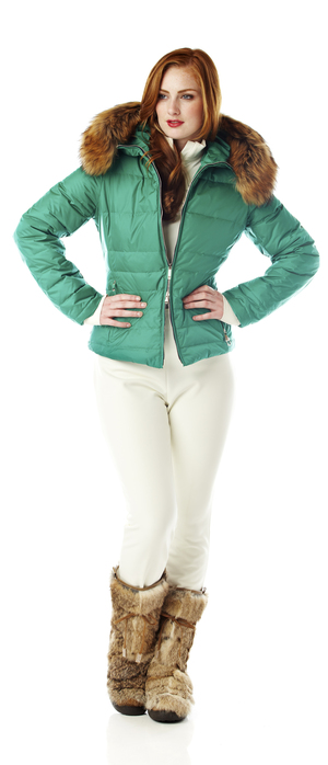 Ladies down Ski jacket with fur trim.  Made in the USA.