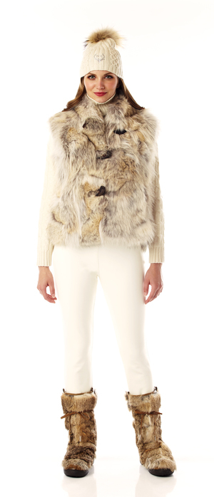 women's coyote fur toggle vest.  made in the USA.