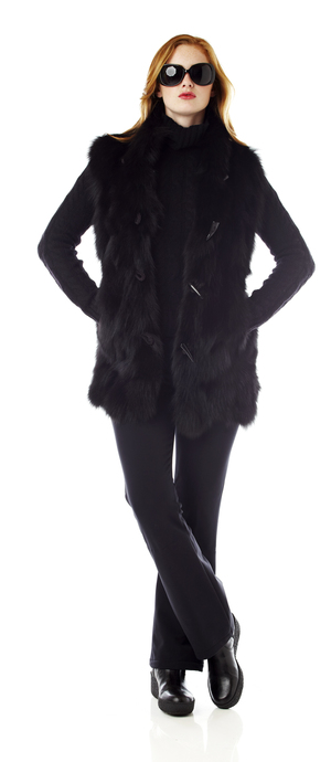 Womens fur toggle vest. Made in the USA
