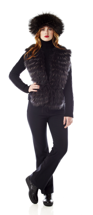 Womens feathered fur vest. made in the USA.