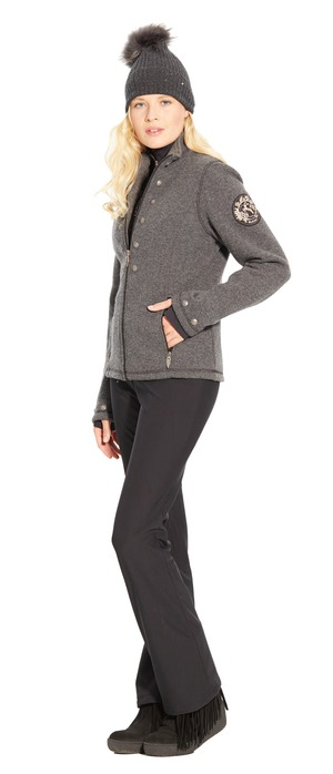 women's techno-wool fleece jacket with trim