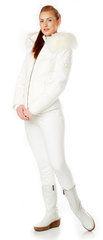 Ladies White Soft Shell Ski Jacket with FUR Trim