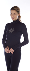 Women's base layer with Swarovski crystal snowflake.  Made in the USA.