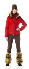 Women's quilted ski jacket with fur trim. Made in the USA.