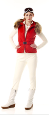 Ladies quilted vest with belt and fur hood trim.  Made in the USA.