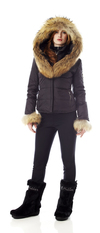 Ladies ski jacket with fur trim  Made in the USA