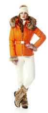 Ladies insulated ski jacket with Fur Trim. Made in the USA.