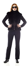 Womens black fox vest with knit. Made in the USA